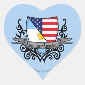 Bandera Argentina-Americana del escudo Pegatina En Forma De Corazón