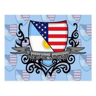 Bandera Argentina-Americana del escudo Postales