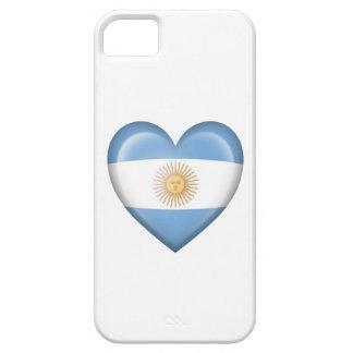 Bandera argentina del corazón en blanco iPhone 5 protector