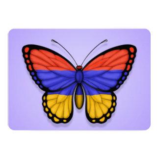"""Bandera armenia de la mariposa en púrpura invitación 5"""" x 7"""""""
