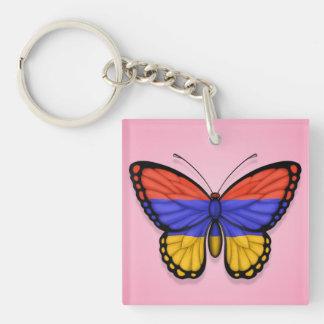 Bandera armenia de la mariposa en rosa llavero