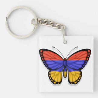 Bandera armenia de la mariposa llaveros