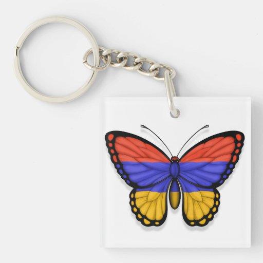Bandera armenia de la mariposa llavero cuadrado acrílico a doble cara