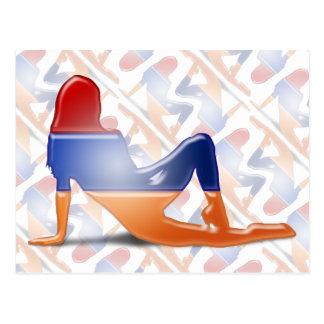 Bandera armenia de la silueta del chica postal
