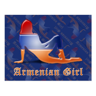 Bandera armenia de la silueta del chica postales