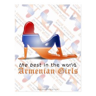 Bandera armenia de la silueta del chica tarjeta postal