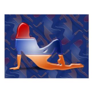 Bandera armenia de la silueta del chica tarjetas postales
