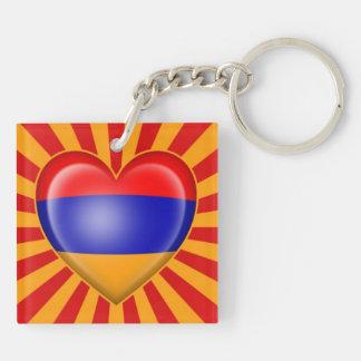 Bandera armenia del corazón con la explosión de la llavero