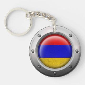 Bandera armenia industrial con el gráfico de acero llavero