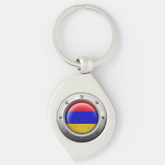 Bandera armenia industrial con el gráfico de acero llaveros