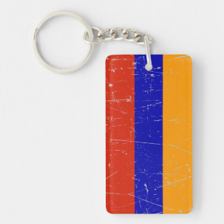 Bandera armenia rascada y rasguñada llaveros