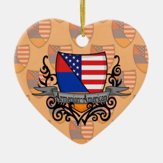Bandera Armenio-Americana del escudo Adorno De Cerámica En Forma De Corazón