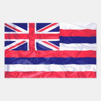 Bandera arrugada de Hawaii Pegatina Rectangular