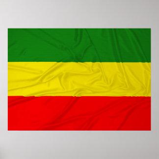 Bandera arrugada de Rastafarian Póster