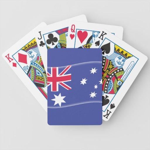 Bandera australiana australiana estilizada en un b baraja cartas de poker