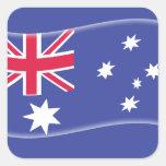 Bandera australiana australiana estilizada en un pegatina cuadrada