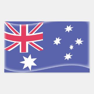Bandera australiana australiana estilizada en un pegatina rectangular