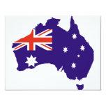Bandera australiana azul del mapa invitación 10,8 x 13,9 cm