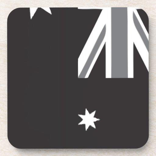 Bandera australiana blanco y negro posavasos de bebida