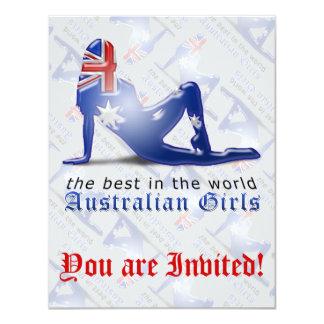 """Bandera australiana de la silueta del chica invitación 4.25"""" x 5.5"""""""