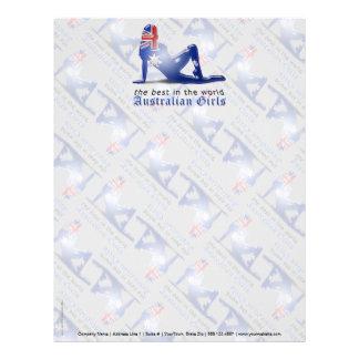 Bandera australiana de la silueta del chica plantilla de membrete