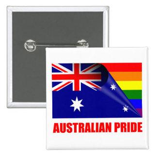 Bandera australiana del arco iris del orgullo LGBT Pin Cuadrado
