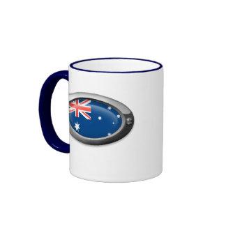 Bandera australiana en el marco de acero tazas