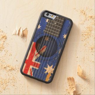 Bandera australiana en la guitarra acústica vieja funda de iPhone 6 bumper arce