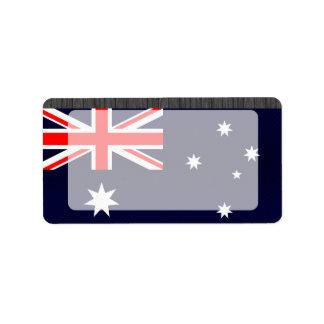 Bandera australiana pelada moderna etiquetas de dirección