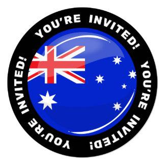 """Bandera australiana redonda brillante invitación 5.25"""" x 5.25"""""""