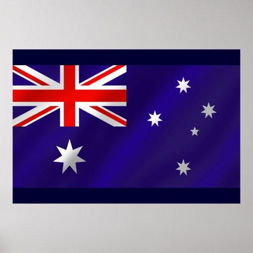 Bandera australiana sombreada para los australiano póster