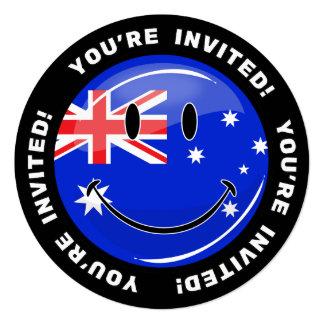 """Bandera australiana sonriente brillante invitación 5.25"""" x 5.25"""""""