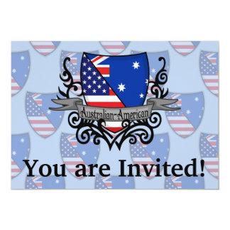 """Bandera Australiano-Americana del escudo Invitación 5"""" X 7"""""""
