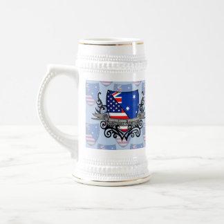 Bandera Australiano-Americana del escudo Jarra De Cerveza