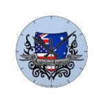 Bandera Australiano-Americana del escudo Reloj De Pared