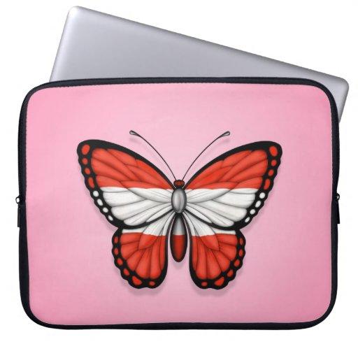 Bandera austríaca de la mariposa en rosa fundas portátiles