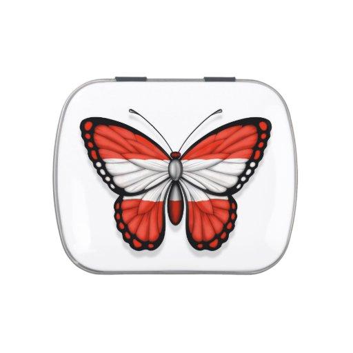 Bandera austríaca de la mariposa jarrones de caramelos