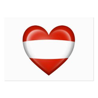 Bandera austríaca del corazón en blanco tarjetas de visita grandes