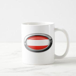 Bandera austríaca en el marco de acero tazas de café