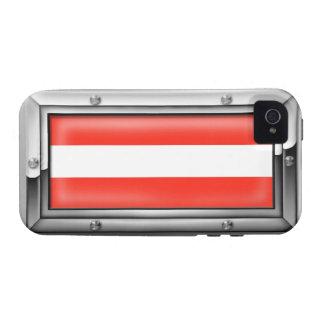 Bandera austríaca en un marco de acero iPhone 4 carcasas