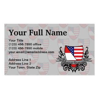 Bandera Austríaco-Americana del escudo Tarjetas De Visita