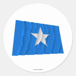 Bandera azul de Bonnie al oeste bandera de la repú Etiqueta Redonda