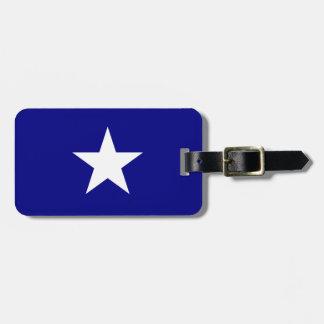 Bandera azul de Bonnie con la etiqueta blanca Etiquetas Maletas