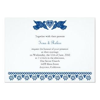 Bandera azul marino de Papel Picado de los pájaros Invitación 12,7 X 17,8 Cm
