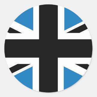 Bandera azul marino fresca de Union Jack Británico Etiqueta Redonda