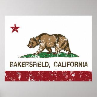 Bandera Bakersfield del estado de California Poster
