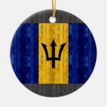 Bandera barbadense de madera adorno de navidad