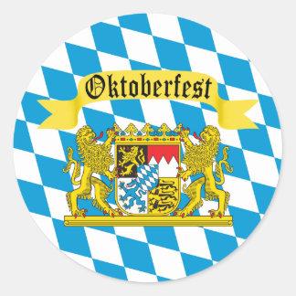 Bandera bávara colorida Oktoberfest Pegatina Redonda