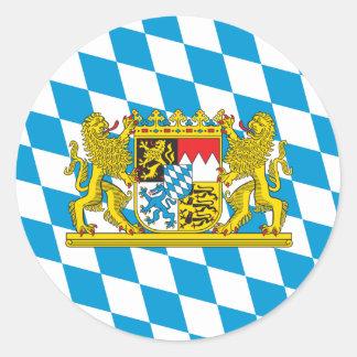 Bandera bávara colorida pegatina redonda