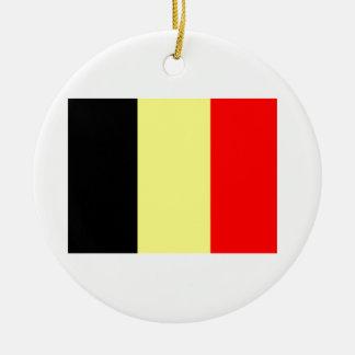 Bandera belga adorno navideño redondo de cerámica